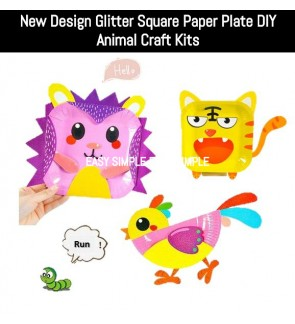 [Ready Stock] (1 pc) New Kid DIY Glitter Paper Plate Animal Craft Kits Education