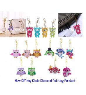 [Ready Stock] 5D DIY Diamond Painting Key Chain Ring Mosaic Full Drill Pendant