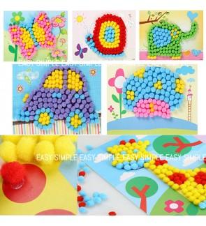 [Ready Stock] Kid DIY Pom Pom Puffy Ball DIY Craft Kits Holiday Imagination