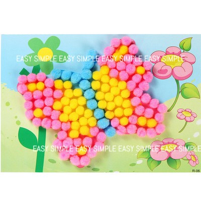 [Ready Stock] Kid DIY Pom Pom Puffy Ball DIY Craft Kits Holiday Imagination