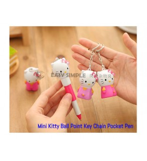 [Ready Stock] Mini Kitty Pocket Size Ball Point Key Chain Pen Girl Gift School