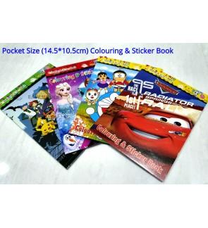 [Ready Stock] Mini Pocket Size (14.5*10cm) Landscape KId Cartoon Sticker Colouring Booke Gift Activity Fun