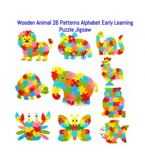 Wooden Animal Shape Alphabet Pattern Letter Puzzle Jigsaw Kids Educational Toys