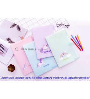 5 Grids Unicorn A4 Accordion Expanding Wallet Document File Paper Organizer Tabs