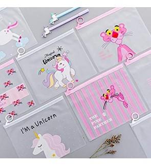 Cartoon Unicorn Pink Leopard File Organizer Folder Transparent PVC Document Bag