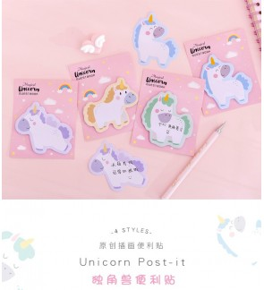 4 Pads Cute Sticky Unicorn Shapes Ins Post It Notes Self-Adhesive Self-Stick Pads Notepads