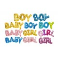 [Ready Stock] (1pc) Simple Baby Shower Letter Foil Balloon Baby Girl and Boy Birthday Decoration