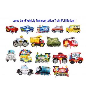 [Ready Stock] Large Land Vehicle Transportation Train Car Truck Tank Foil Balloon Kid Birthday