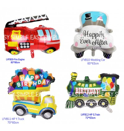 [Ready Stock] Large Land Vehicle Transportation Train Car Truck Tank Foil Balloon Kid Birthday