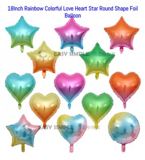 [Ready Stock] (1pc) 18Inch Rainbow Unicorn Colorful Round Star Heart Foil Balloon Party Decoration
