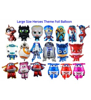 [Ready Stock] Large Size Super Heroes Super Wings PJ Masks Baby Star Wars Transformer Theme Foil Balloon