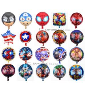[Ready Stock] 18 Inch Round Super Heroes Avengers Captain Spiderman Iron Man Batman Balloon