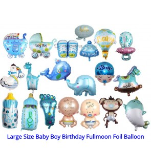 [Ready Stock] (1 Piece) Large Size Baby Boy Shower Birthday Fullmoon New Born Foil Balloon