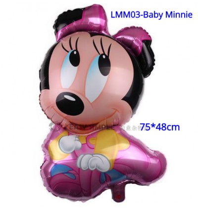 [Ready Stock] (1 Piece) Large Size Mickey Minnie Baby Birthday Fullmoon New Born Foil Balloon