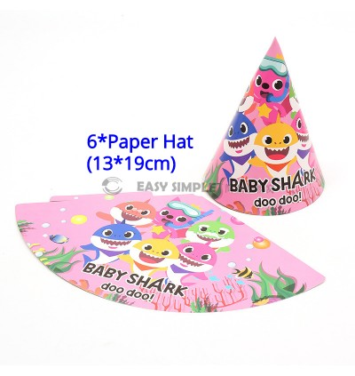 [Ready Stock] Kid Baby Cute Shark Party Supplies Birthday Decorations Set Pink for Girls Banner Cake Topper