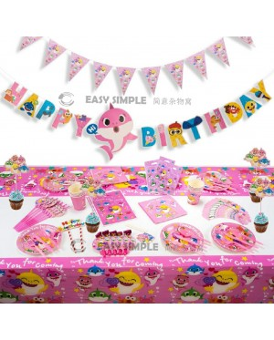 [Ready Stock] Kid Cute Pink Baby Shark Party Supplies Birthday Decorations Set Pink for Girls Banner Cake Topper
