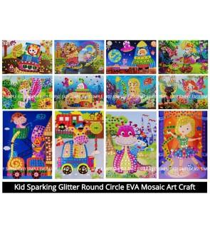 [Ready Stock] Kid Sparking Glitter Round Circle EVA Mosaic Art Craft Painting Preschool Activities