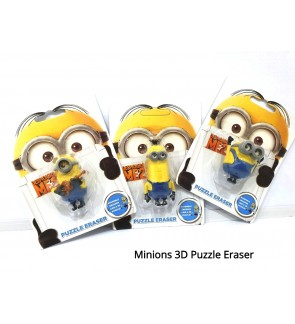 (1 Piece) Kid Adorable 3D Minions Despicable Me Mini Puzzle Eraser Games Fun Prizes and School Stationery Supplies