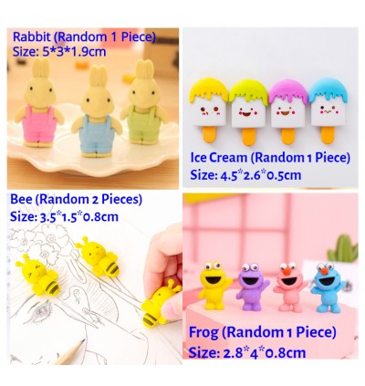 [Ready Stock] (1 Piece) Kid 3D Cartoon Erasers Cute Party Favors Games Prizes Carnivals and Classroom Rewards