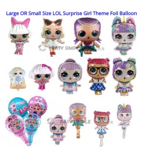 (1 Piece) Large OR Small Size LOL Surprise Girl Doll Theme Foil Balloon Happy Birthday Decoration