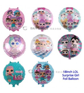 [Ready Stock] (1 Piece) 18 Inch LOL Surprise Girls Theme Foil Balloon Birthday Celebration