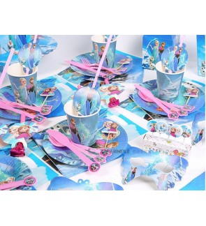 [Ready Stock] Girl Kid Frozen Blue Theme Birthday Party Supplies Decoration Disposable Tableware Plate Cup Banner