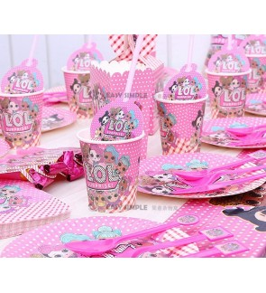 [Ready Stock] LOL Surprise Dolls Girl Pink Birthday Party Supplies Decoration Cake Topper Paper Plate Spoon