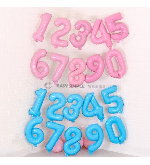 [Ready Stock] (1 Piece) 16Inch Number 0-9 Candy Pastel Macaron Light Pink Blue Foil Balloon (Air Filled Only)