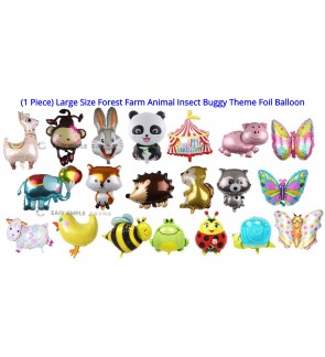 [Ready Stock] (1 Piece) Large Size Forest Farm Animal Insect Buggy Theme Foil Balloon Party Wall Decoration