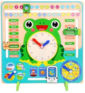 Kid Wooden Cognitive Multi Function Calendar Clock Weather Season Month Board Educational Toy
