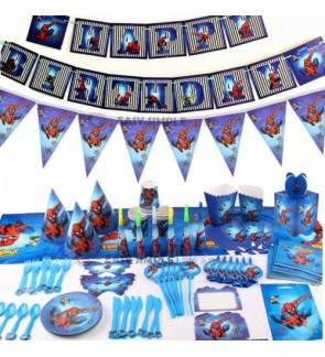 [Ready Stock] Spiderman Boy Birthday Party Supplies Decoration Disposable Tableware Paper Hat Horn Plate