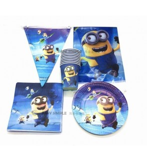 [Ready Stock] Kid Minions Blue Theme Birthday Party Supplies Decoration Disposable Tableware Plate Cup Topper