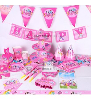 [Ready Stock] Pony Pink Birthday Party Supplies Decoration Cake Topper Paper Plate Spoon Candle