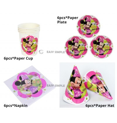 [Ready Stock] Kid Minnie Pink Theme Birthday Party Supplies Decoration Disposable Tableware Plate Cup Napkin