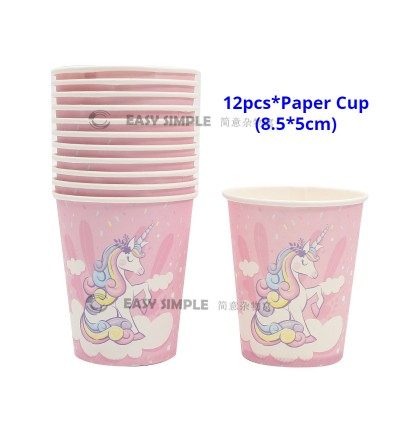 [Ready Stock] 12 People Kid Pink Cloud Unicorn Party Supplies Decoration Disposable Tableware Plate Cup Spoon Fork