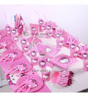 [Ready Stock] Hello Kitty Theme Cartoon Celebration Party Decoration Disposable Tableware Supplies