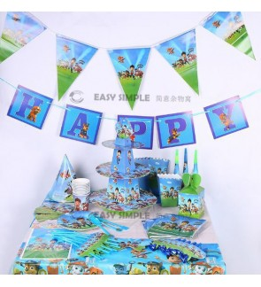 [Ready Stock] Kid Paw Patrol Party Theme Supplies Decoration Disposable Tableware Straw Plate Cup Loot Bag