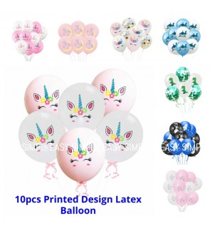 [Ready Stock] 10pcs Per Pack Unicorn Shark Transportation Dinosaurs Printed Design Confetti Latex Balloon