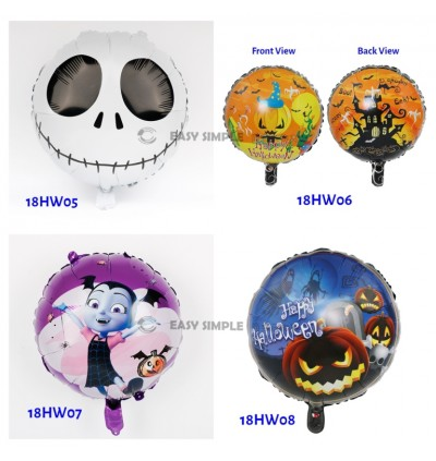 [Ready Stock] 18 Inch Round Square Size Happy Halloween Theme Foil Balloon Ghost Pumpkin Scary Spooky