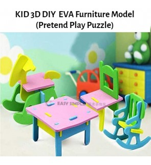 [Ready Stock] (1 Set) 3D EVA DIY Dollhouse Mini Furniture Decor Kids Child Puzzle Assembled Educational Craft Toy Kit