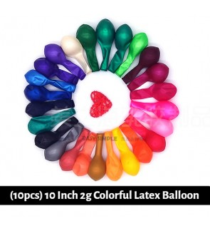[Ready Stock] (10pcs) 10 Inch 2g Colorful Latex Balloon Birthday Party Helium Wedding Wall Decoration