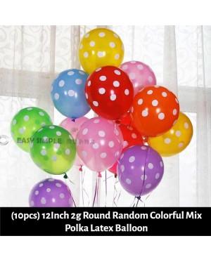 [Ready Stock] (10pcs) 12Inch 2g Round Printed Polka Dots Random Colorful Mix Latex Balloon
