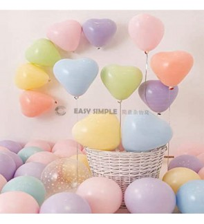 [Ready Stock] (10pcs) 12Inch 2.2g Macaron Pastel Heart Love Shape Latex Balloon Party Decoration