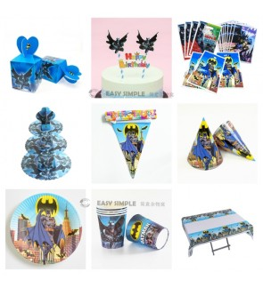 [Ready Stock] Batman Black Boy Theme Birthday Party Disposable Tableware Decoration Plate Hat Loot Bag