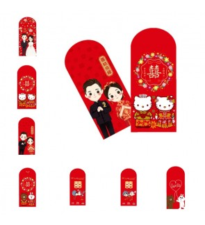 [Ready Stock] 10pcs/pack (17*9cm) Long Red Ang Pau Red Packet Red Envelope Congrats Wedding Kitty Line Couple