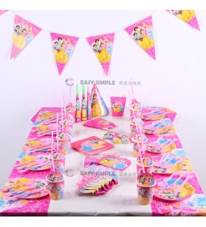 [Ready Stock] Disney Princess Theme Pink Girl Birthday Party Disposable Tableware Decoration Banner Plate