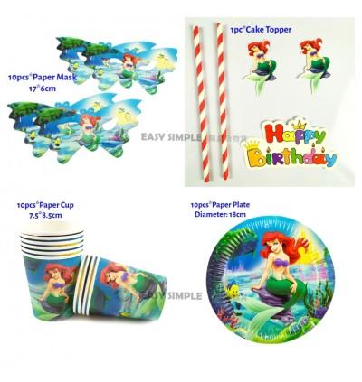 [Ready Stock] Disney Mermaid Princess Aries Girl Ocean Theme Disposable Tableware Decoration