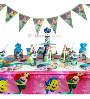 [Ready Stock] Disney Mermaid Princess Aries Girl Ocean Theme Disposable Tableware Decoration