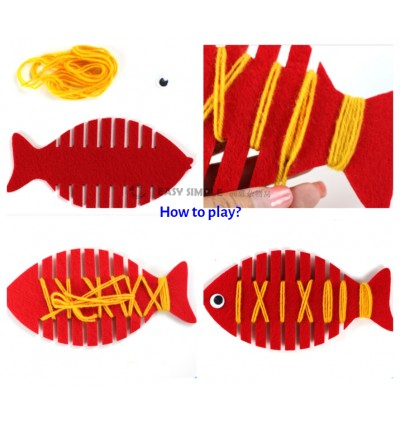 [Ready Stock] (1 Piece) Children Kids Threading Toy Fish Lacing Thread Weave Handmade Activity Game DIY Kindergarten