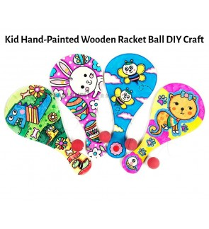 [Ready Stock] (1 Piece) Kid Hand-Painted Wooden Racket Ball DIY Craft Kit Creative Graffiti Template Rubber Ball Toys